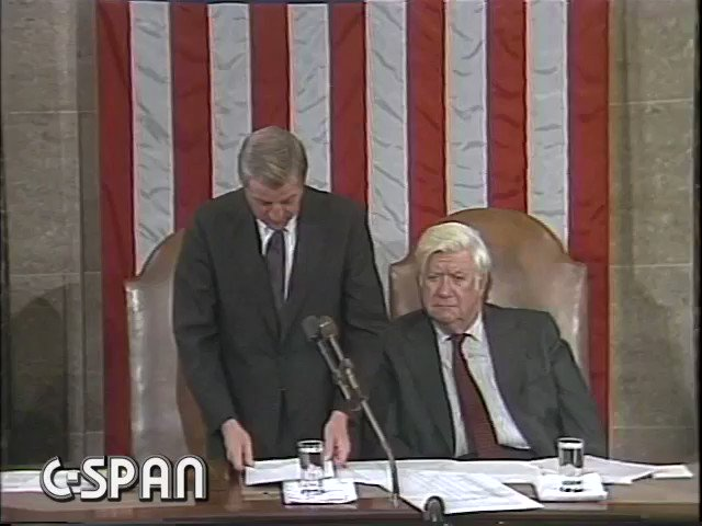 """Today is Walter Mondale's 93rd birthday. On day after his 53rd birthday - Jan. 6, 1981 - he announced his defeat in the electoral college: """"Walter F. Mondale has received 49 votes."""" Ovation Mondale to Tip O'Neill: """"A landslide"""" O'Neill: """"Very impressive"""""""