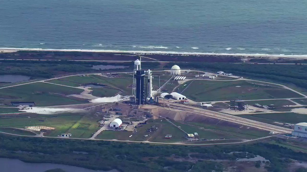 Footage from a helicopter of Falcon 9's 26th and final launch of 2020