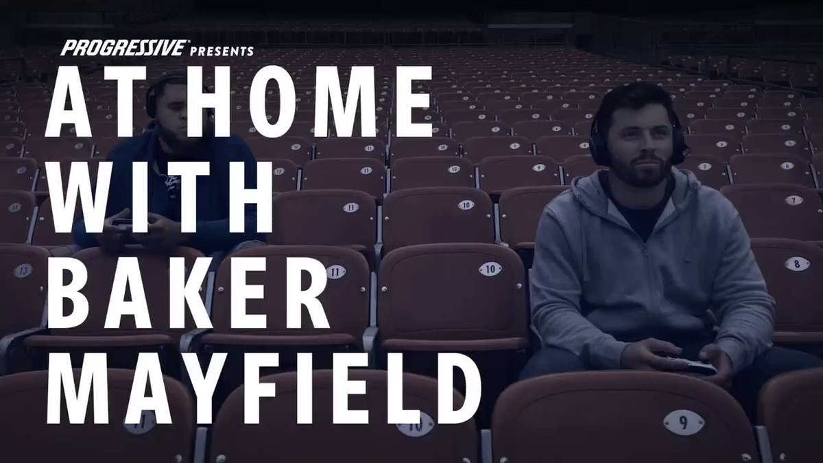 """One of the best perks of living in a stadium? The 2,353"""" TV for sure. Right @emilywmayfield6?!? 🎮 @JWills73 @Progressive #Partner #AtHomeWithBaker"""