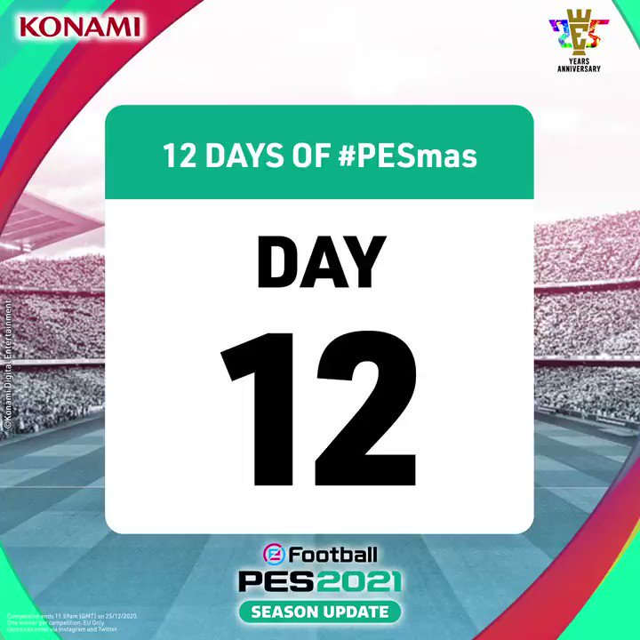 DAY 12 is here! 🎅  The final #PESmas prize is:  2x PARTNER CLUB HOME SHIRTS & 1x OFFICIAL CLUB EDITION FULL GAME CODE OF YOUR CHOICE 🤩🎁  To enter, Reply & R/T with #PESmasDay12  Ends 11:59am (GMT) 25/12/20. EU Only. Winners will be contacted within 72 hours.  T's & C's in bio. https://t.co/VXG5gw9tuZ
