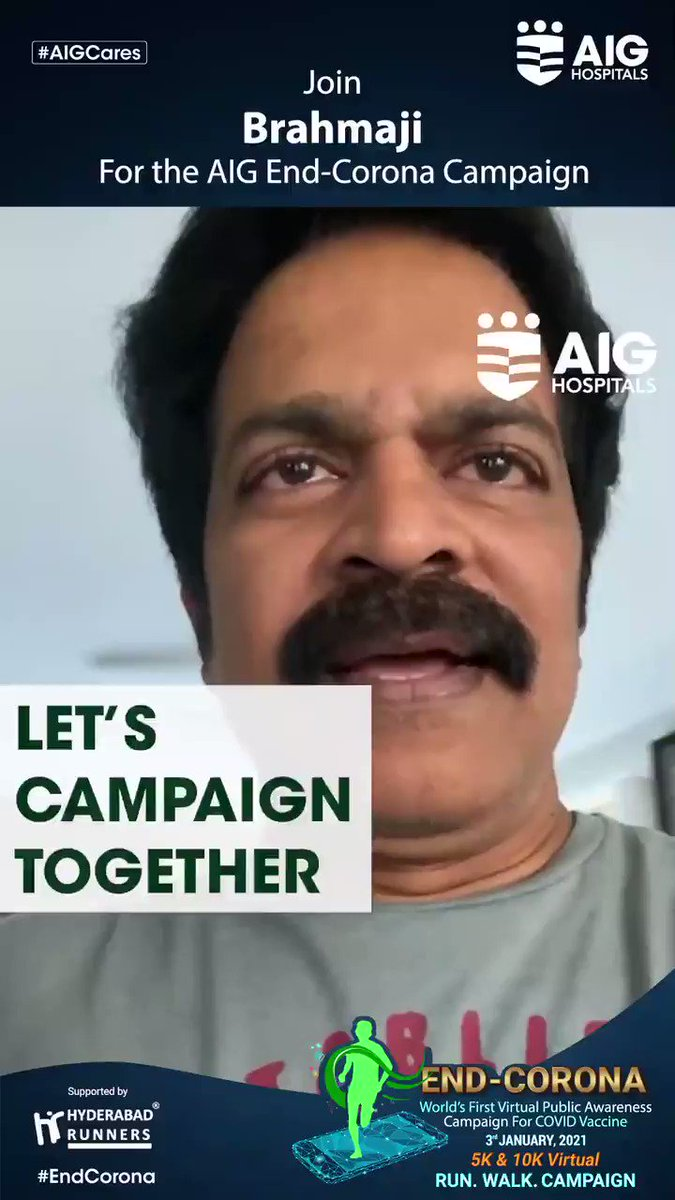 Grateful to Actor BRAHMAJI (@actorbrahmaji) for supporting the AIG #EndCorona Virtual Campaign! With such kind support, we are spreading public awareness on #COVIDVaccine. Join him for this campaign by clicking  and register for free!