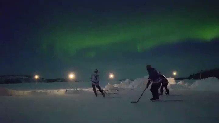 Replying to @spittinchiclets: Yellowknife pond hockey hits different  🎥: internationalhockeyassociation/IG