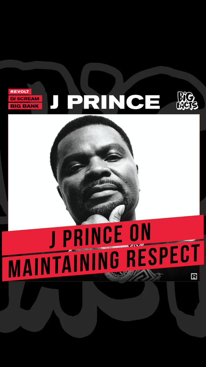 This week on #BIGFACTS we're talking all about respect with one of the most respected, the legendary #JPrince.   Tune in tonight at 10PM ET for an all new episode with @DJSCREAM, @BigBankDte, @BABYJADE1 & @Jprincerespect. Only on REVOLT's YouTube.