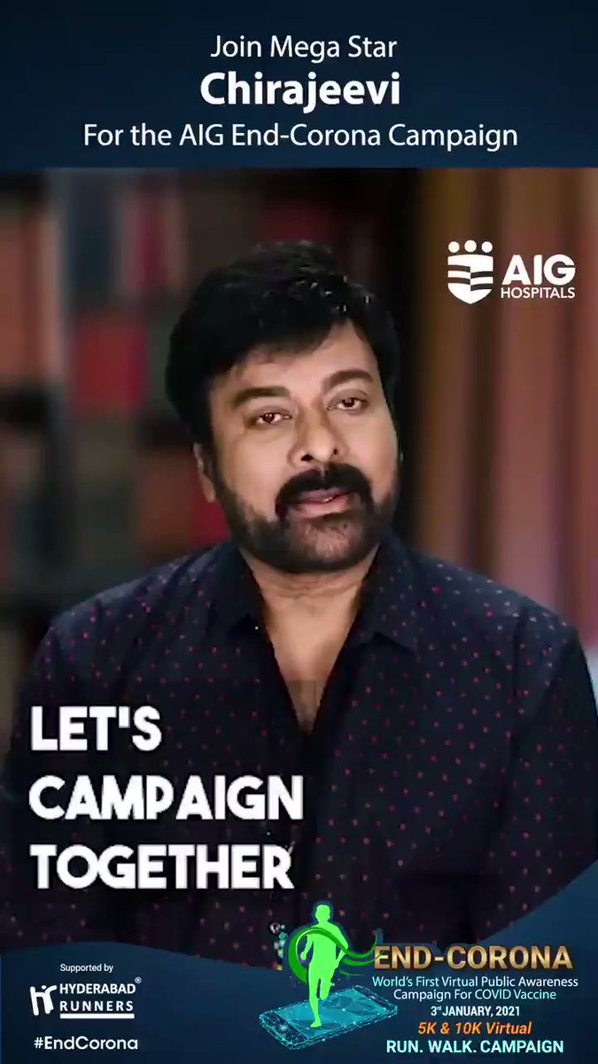 We feel privileged to have Mega Star Chiranjeevi's (@KChiruTweets) support for the AIG #EndCorona Virtual Campaign. Click  and register for free! #COVID19 #COVIDVaccine #COVID19inIndia #AIGHospitals