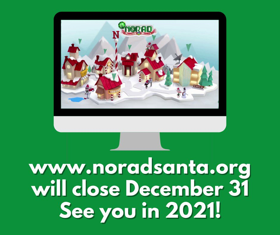Thank you for following #NORADTracksSanta! The website and online store will be closed after today. See you next year!