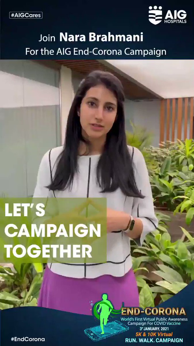 We sincerely thank Nara Brahmani for coming in support for the AIG #ENDCorona Virtual Campaign.  Click  and register for free! #COVID19 #COVIDVaccine #COVID19inIndia #AIGHospitals