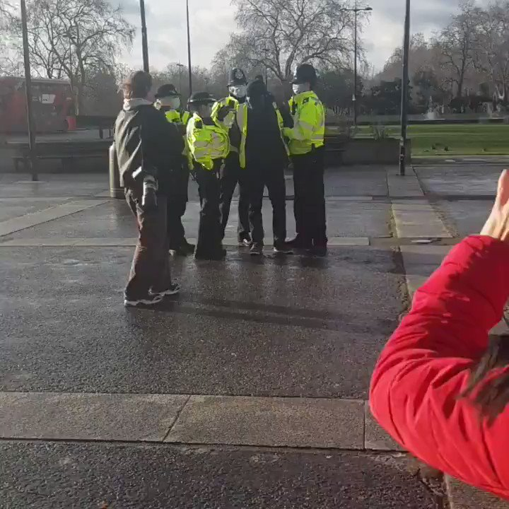 LONDON, UK: A man was arrested after reportedly greeting a friend with a hug at a freedom protest in Hyde Park.