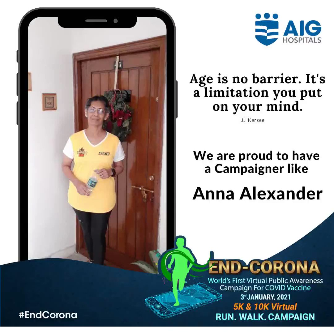 We are truly proud to have a Campaigner like #AnnaAlexander. Yes! Age is inded just a number when it comes to work for fitness. Thank you for being part of the AIG #EndCorona Campaign. #AIGHospitals #COVID19 #CovidVaccine #VirtualRun