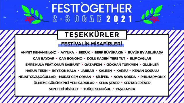 Festtogether'a katılarak bizlerle iyilik peşinde olan herkese çok teşekkür ederiz! 💙 #EvdenDestekOl #Festtogether #birkirabirsahne   @festtogether @ihtiyacharitasi @netdmuzik @YouTube #ZengerTV #IdeamaniaTV