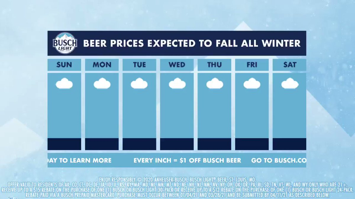 As the snow falls, so does the price of Busch.  That's right, #BuschSnowDay is back! For every inch of snow that adds up in your area, we're taking $1 off your Busch (up to $15).  Learn more at