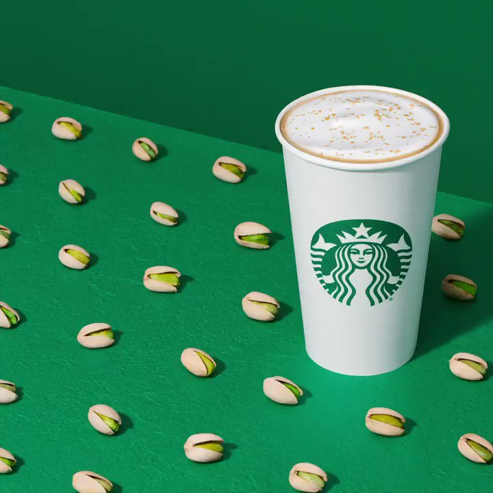 Introducing the all new Pistachio Latte. Start your new year off with sips of creamy, dreamy deliciousness sprinkled with a brown-buttery topping. 💚 [US + Canada]
