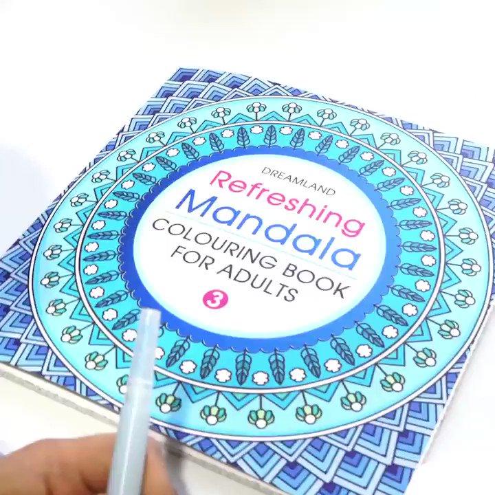 Refreshing Mandala Coloring book for adults 🎨  Available now for order/متوفر الان للطلب    Worldwide shipping #معرض_الكويت_الافتراضي_للكتاب