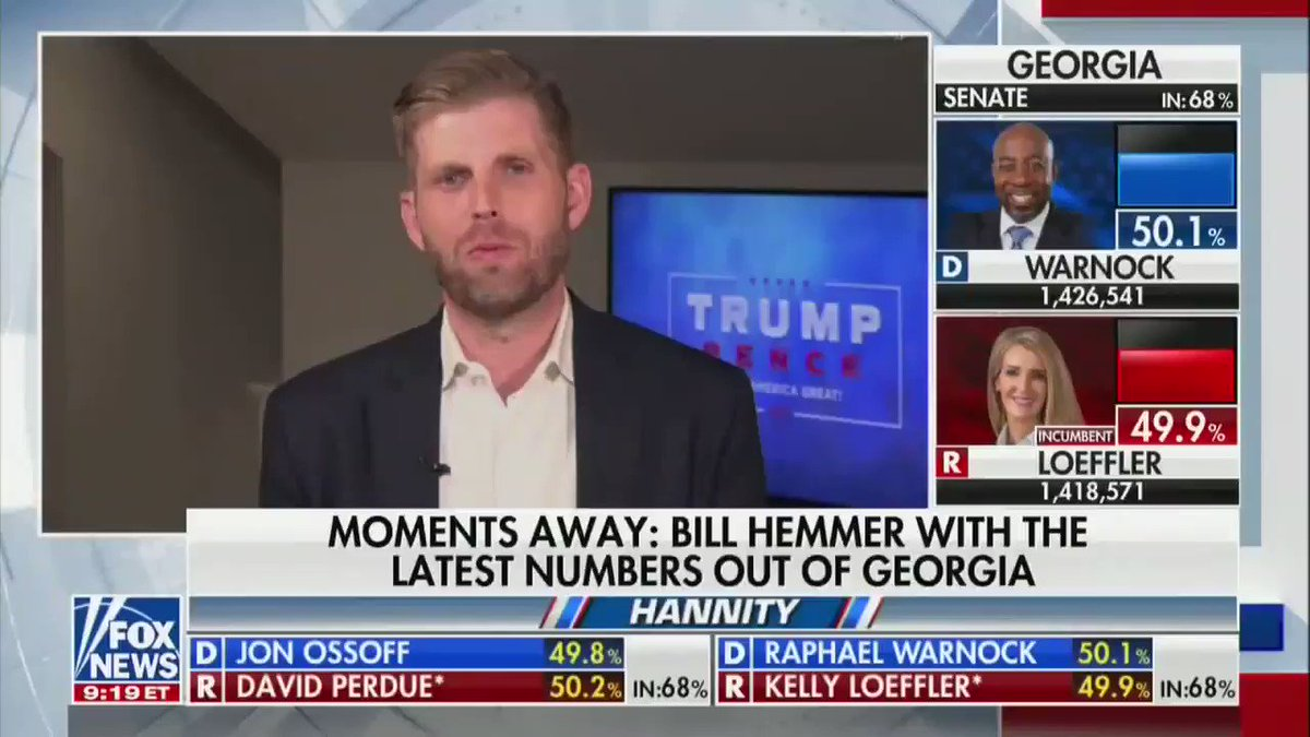 """I can tell you, Sean, any senator or any congressmen -- meaning on this side -- that does not fight tomorrow, I'm telling you, their political career is over, because the MAGA movement is going nowhere ... they will get primaried"" -- Eric Trump"