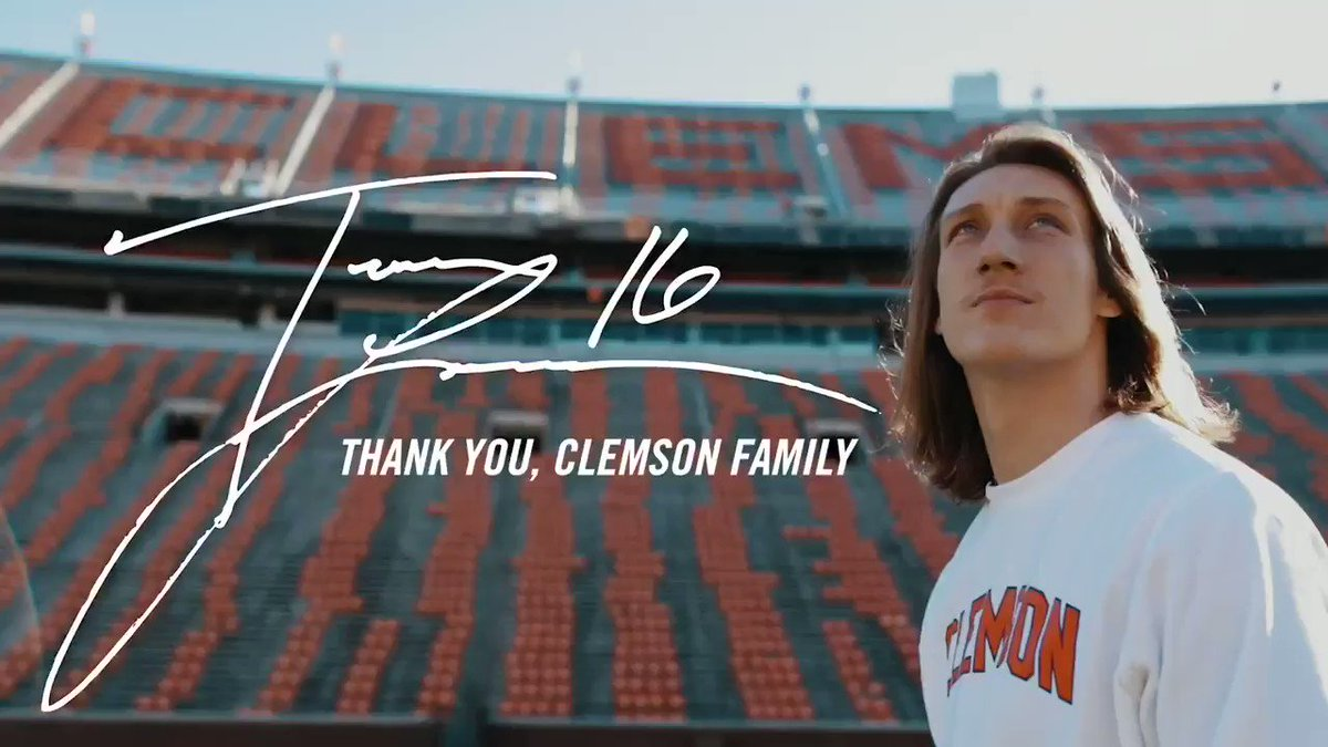 Replying to @Trevorlawrencee: Thank you, Clemson...