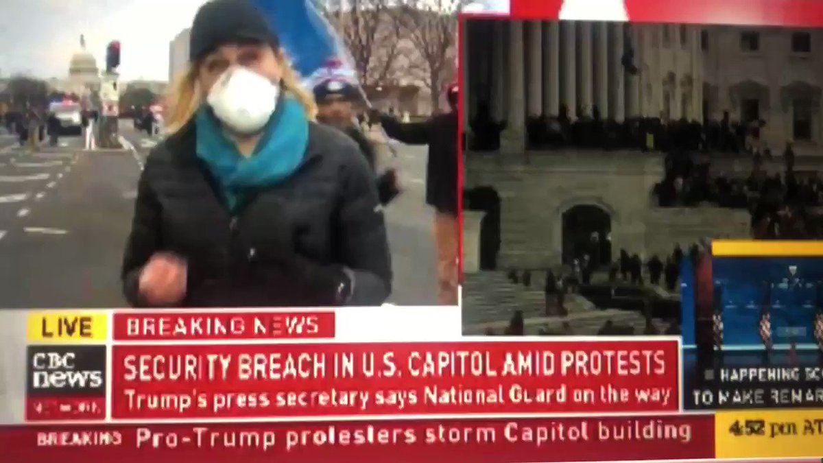 CBC's Katie Nicholson is trying to inform Canadians about what's happening on the streets of DC & is swarmed & harassed & prevented from doing her job. Thinking of her & all the journalists working hard & putting themselves at risk today to cover this historic story. Stay safe.