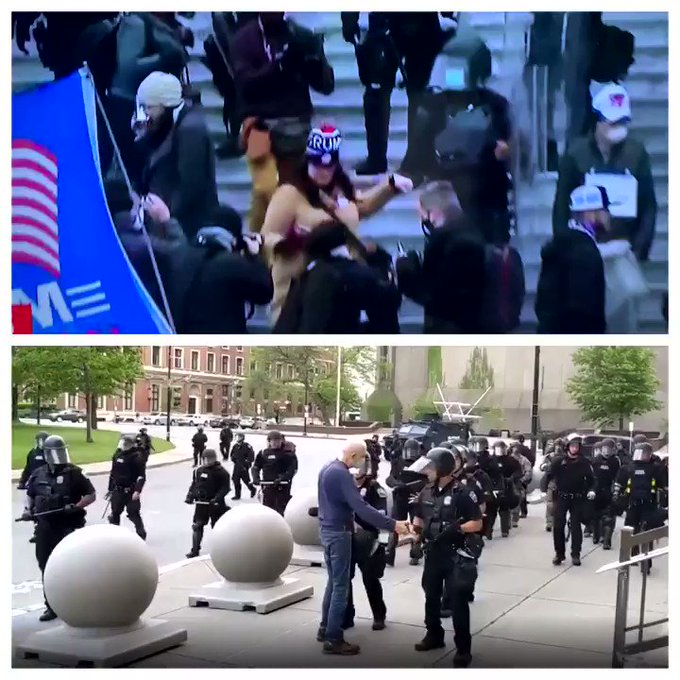 Big difference in how police treat you when storming the capital building during a coup and how they