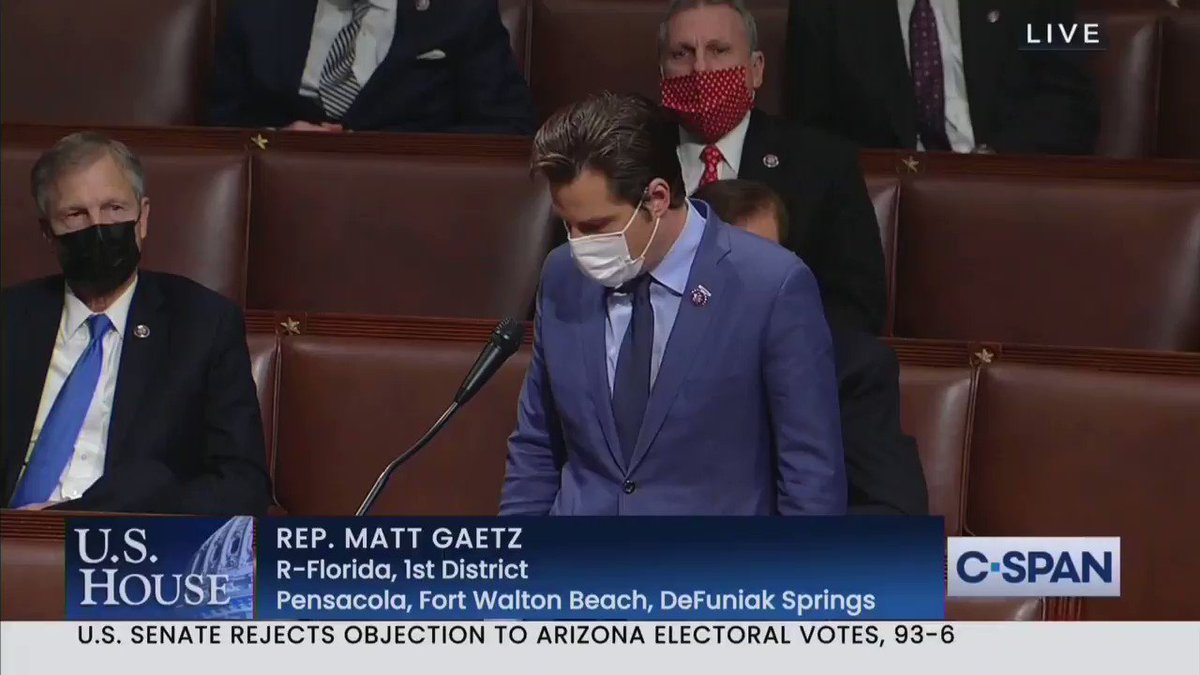 """Holy shit. Matt Gaetz just said, """"some of the people who breached the Capitol today were not Trump supporters, they were masquerading as Trump supporters and in fact were members of the violent terrorist group antifa."""""""