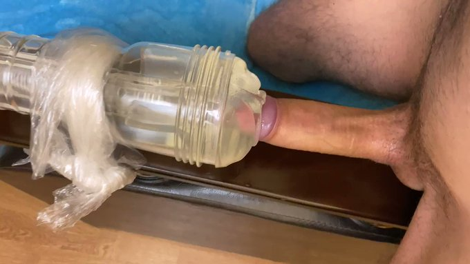 Edging and slowly fucking fleshlight while moaning until spurting a big cum load all over 😩🍆💦 (sound
