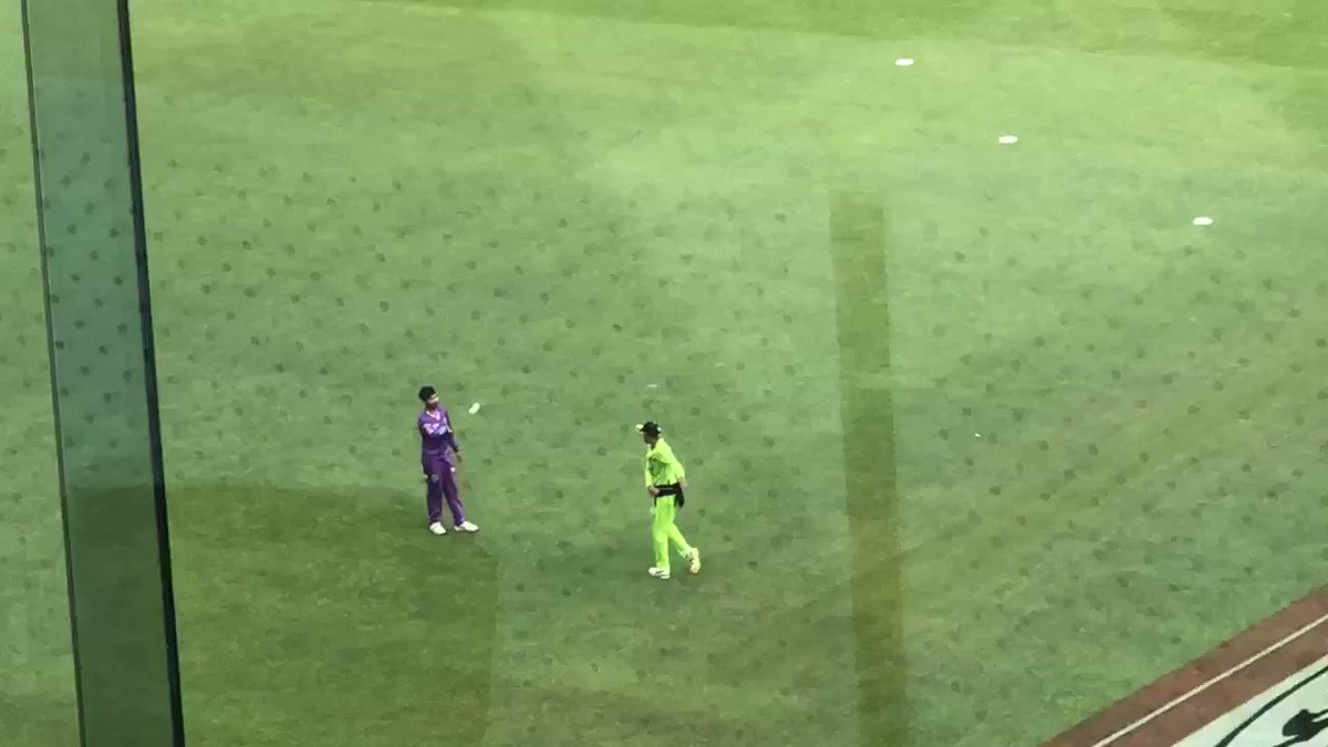 Tanveer Sangha out on Optus Stadium practicing his bowling with fellow leg-spinner Sandeep Lamichhane well after @ThunderBBL's win over Hobart. Another huge performance from the 19yo from tonight with the big wickets of Peter Handscomb and Colin Ingram to lead the @BBL with 15.