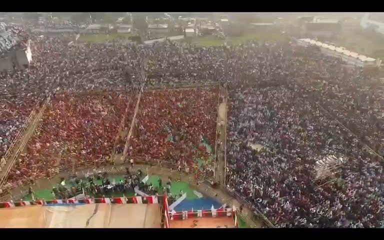 Drone Footage of @abhishekaitc public meeting at Gangarampur