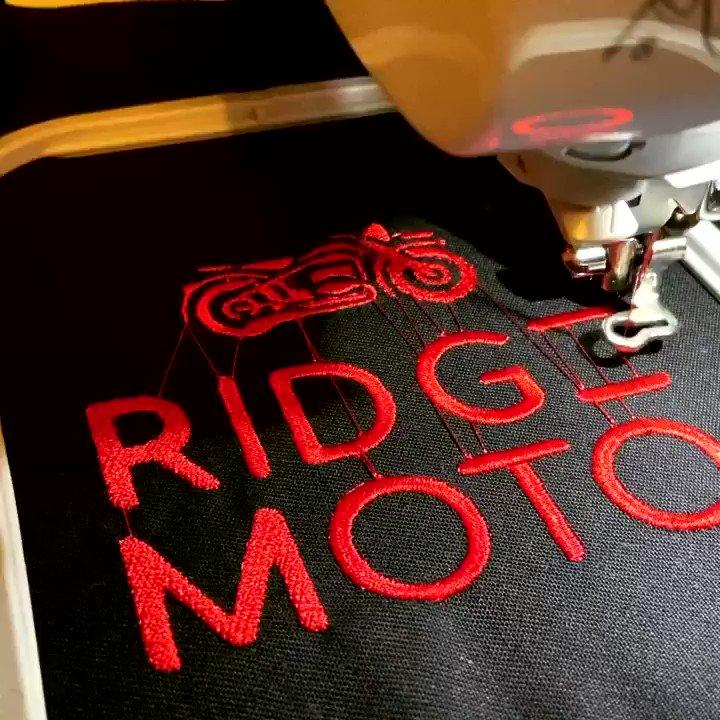 Product development! 🖤 • #RidgeMoto #RidgeMotoUK #Biker #GirlsWhoRide #BikerChicks #BikerChicksUK #GirlsOnBikes #LadyRider #FemaleBiker #Harley #Suzuki #Kawasaki #Ducati #BikerChick #Motorbikes #BikerBabes #OddlySatisfying #Embroidery #Sewing #BrotherSewing #BrotherEmbroidery