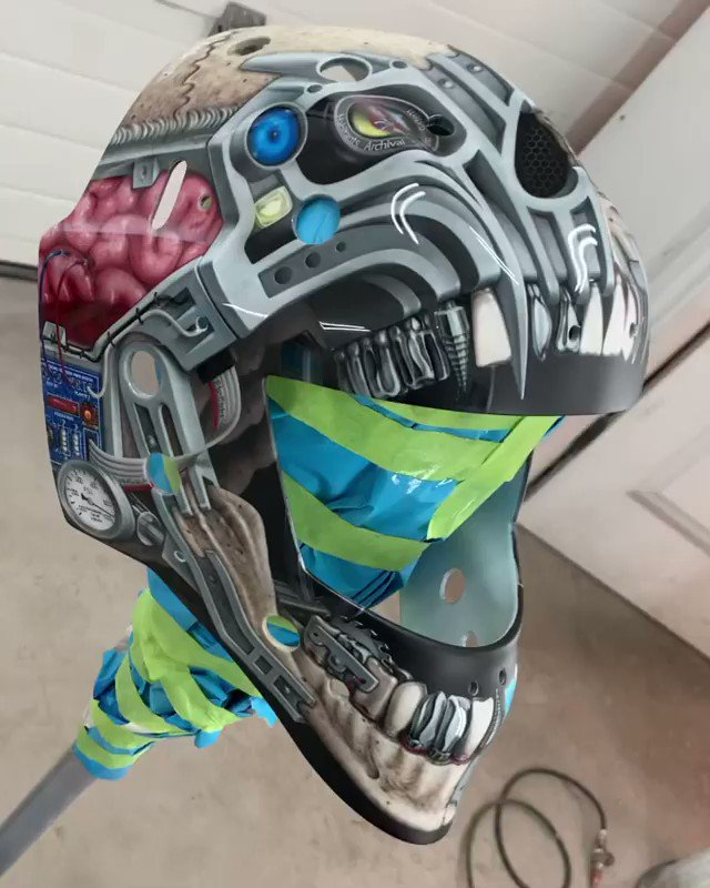 Those details though. 👀🤖  Carey Price's new mask is complete and it's a beauty.   (🎥: IG/jboairbrush)