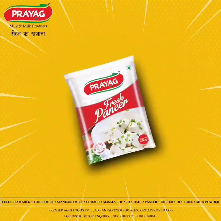 Full of Taste, Full of Health!   Add the perfect dose of flavour and nutrition to your Indian delicacies with Prayag Paneer!   *Prayag Paneer*  #paneer #tastyandhealthy #purity #freshness #healthfirst #prayag #prayagmilk #dairyproducts #Bareilly