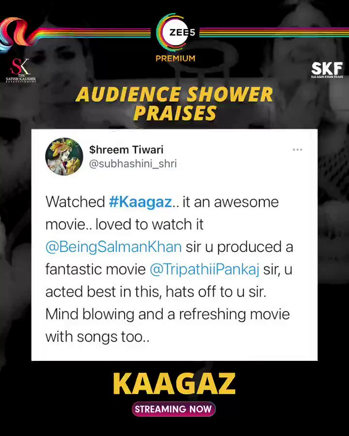 The verdict is out; audience are loving #Kaagaz 🤩 Streaming now. #ProofHaiKya      @tripathiipankaj @satishkaushik2 @gajjarmonal @TheAmarUpadhyay @Nishantkaushikk #MitaVashisht @ZeeStudios_ @ZEE5Premium @profanesoul #VikasMalu @anksumads @rahuljainfever