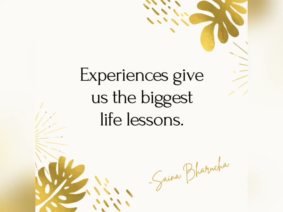 Mrs. @SainaBharucha talks about how our experiences teach us the most in life and more. Watch Now. ✨  #inspiringlives #lifelessons #experiencematters