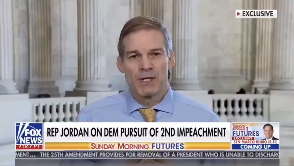 Jim Jordan says impeachment isn't healthy for the nation and he hopes we can come together because he's concerned about where we're at