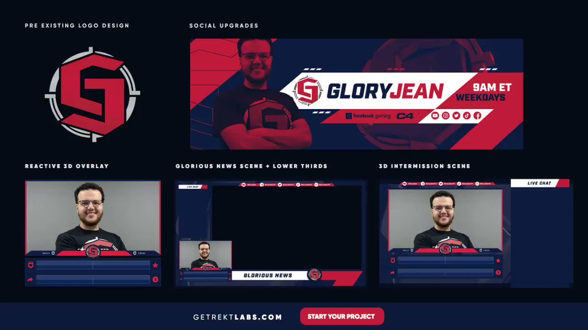 Gladd - Rebrand for @GloryJeanTV!  Working with Jean's pre-existing logo and colour scheme, we worked on a full set of 3D upgrades to take his production to the next level!   Focused on a clean but impactful aesthetic this package includes a 3D reactive overlay and animated scenes!