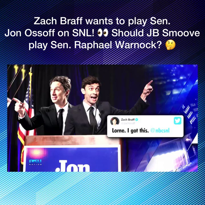 Scrub's star @ZachBraff throws his hat in the ring to play Sen. Jon @Ossoff on 'Saturday Night Live' @nbcsnl 👀🇺🇸 But should JB Smoove ( @ohsnapjbsmoove) play Sen. Raphael Warnock ( @reverendwarnock)? 🤔