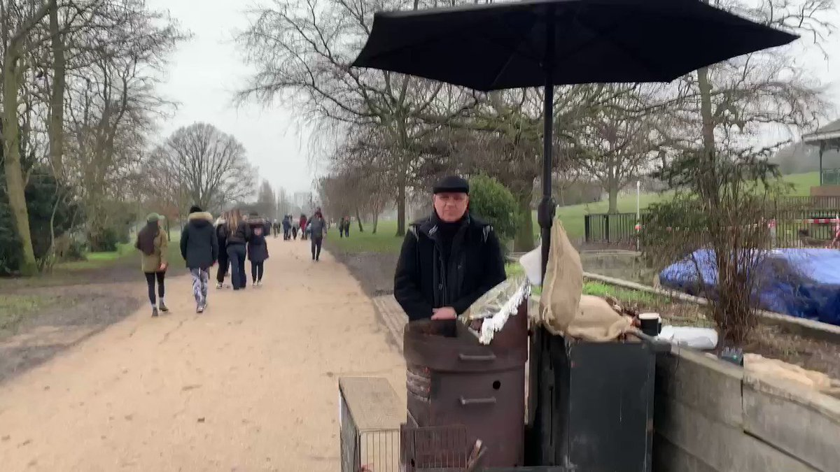 1/. I often chat to Gus who sells chestnuts on the Heath, but I only recently heard his story  In 2007, he & his wife Inez, got news most people only ever dream of  A TV company made them a multi-million pound offer to use their trademark 'Golden Balls'.