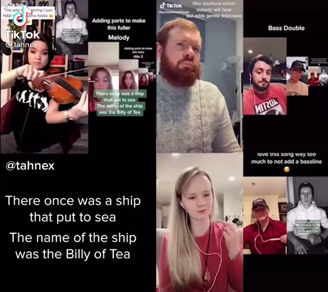 """One of the cool things about TikTok is the way people can """"duet"""" someone else's video and build on it.  There's a sea shanty trend going on over there. It started with one guy singing. Then someone 'dueted' his vid... then someone 'dueted' that one, etc."""