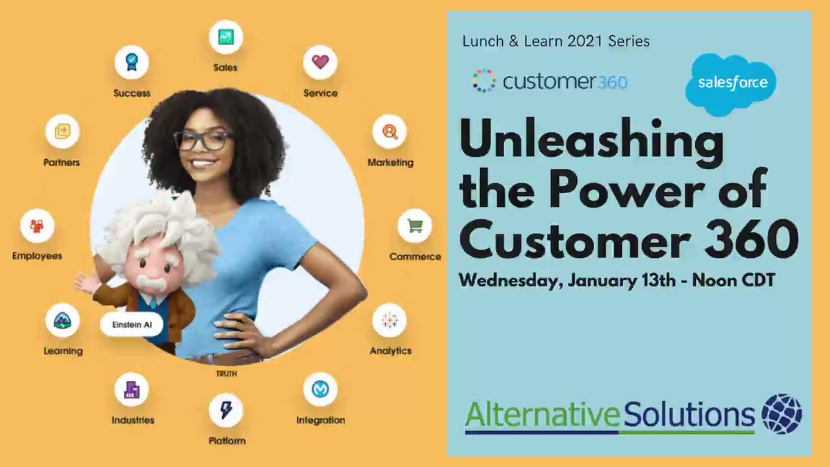 Is @salesforce Customer 360 the tool that you've been looking for? Join us Wednesday, 1/13 at Noon CDT to learn more. Register here:  #customer360 #CRM #singlesourceoftruth #Salesforce