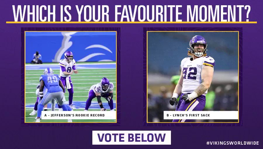 Vote below who wins this match-up for Vikings moment of the season! 🏆  A - @JJettas2 breaking the rookie receiving record ✈️  B - @JamesHusker38's first NFL sack on Russell Wilson 👊  #VikingsWorldwide #Skol