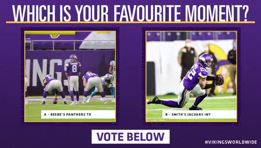 Vote below which moment wins this match-up! 🏆  A - Beebe's last-minute TD against the Panthers 🙌  B - @HarriSmith22's diving INT against the Jaguars 👊