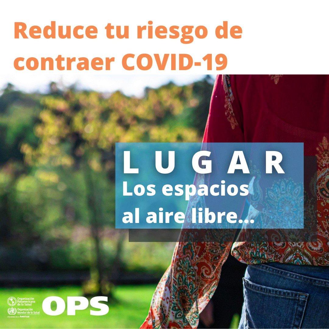 🌤 Los espacios al aire libre 🏞 son siempre más seguros ⛰ que los lugares cerrados.   Reduce tu riesgo de contraer #COVID19 🦠. Elige opciones seguras. 👍🏽  Lávate las ✋🏾🤚🏼 con 💦 y 🧼 con frecuencia.