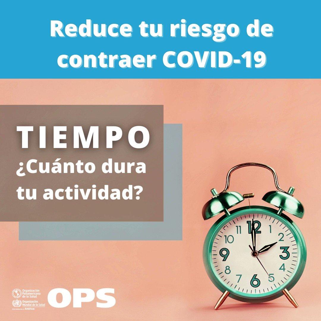 Reduce tu riesgo de contraer #COVID19   Al realizar actividades, ten en cuenta el ⏰.  👇🏾 👇🏾 👇🏾