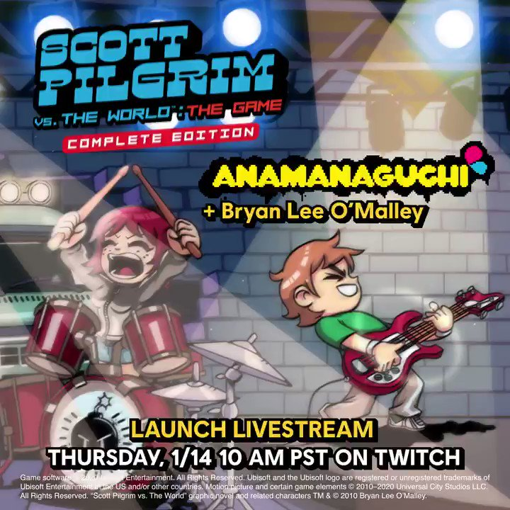 Tune in Thursday for a #ScottPilgrimGame launch stream featuring @bryanleeomalley and @anamanaguchi!   ⚡