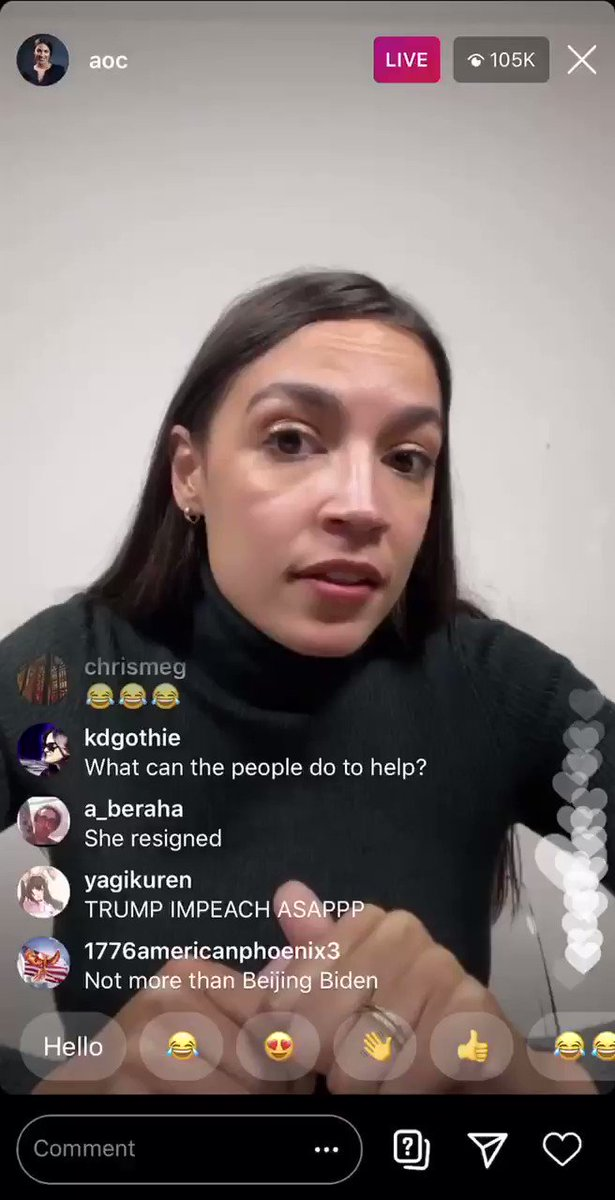 """AOC continues to be one of the few people who seems to be living in the world the rest of us are.   """"I have a message to anyone who resigned after Wednesday: too late...those five people's blood is on your hands."""""""