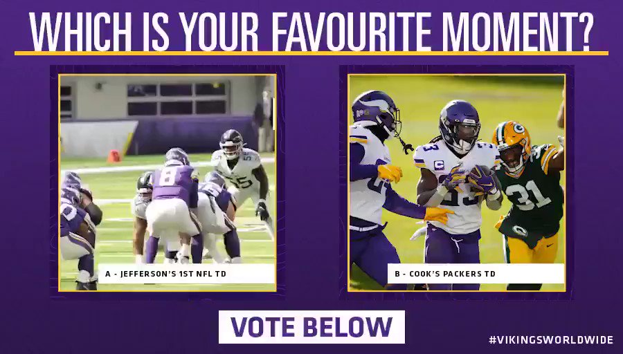 Vote below which moment wins this HUGE match-up! 🏆  A - @JJettas2's first ever NFL TD 🕺  B - @dalvincook's 50 YD Packers TD 🧑‍🍳