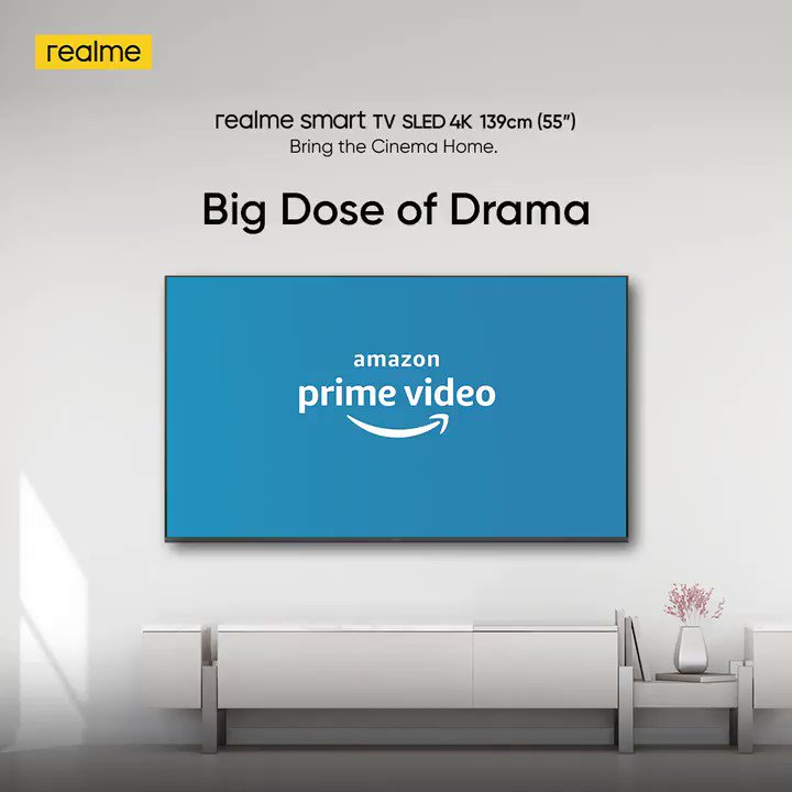 """Uncover the darkest lanes of politics from the comfort of your couch when you #BringTheCinemaHome. Watch #TandavOnPrime only on your 139cm (55"""") #realmeSmartSLEDTV. @PrimeVideoIN.  Available on  & @Flipkart. Buy now:"""