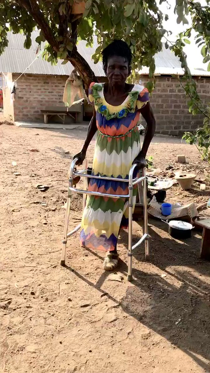 Catherine's sons carried her to safety when their family had to flee Cameeron.  Now, the 67-year-old can walk. UNHCR supported a critical surgery and provided a walking frame.