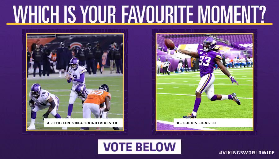 Vote below which moment wins this match-up!🏆  A - @athielen19's #LateNightVikes one-handed catch 🙌   B - @dalvincook's 70 YD Lions TD 🤩