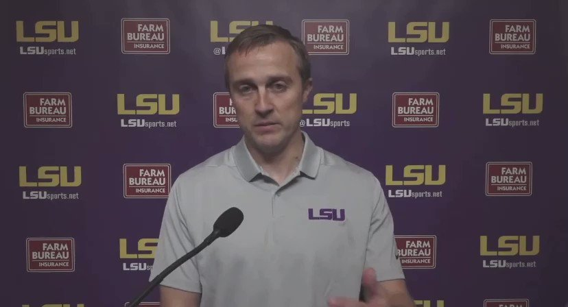 """LSU's new offensive coordinator Jake Peetz:   """"When you are raising 6 kids, it's the most competitive team sport there is and if you guys can manufacture a situation that's more hairy than bath time with 6 kids, I think we'll be able to handle fourth and goal."""""""