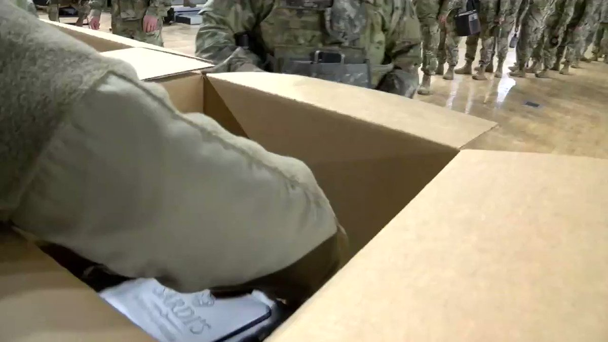 As part of a food service element, approximately 30 members of the D.C. National Guard ensure that 18,000 catered meals are unpacked, sorted, distributed and served to National Guard Soldiers and Airmen in Washington, D.C., Jan. 11, 2021.