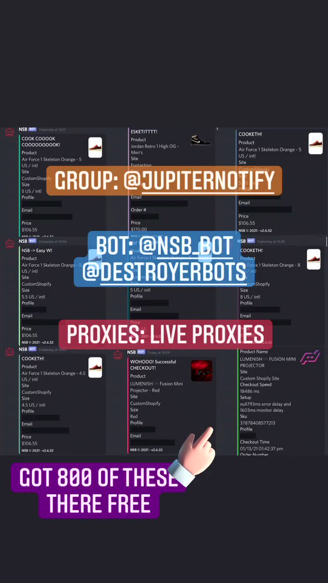 Hit 800 free lights 8 pairs of shoes 3 bimtoys All in 1 day Group: @JupiterNotify Proxies:@LiveProxies Bot: @destroyerbots @NSB_Bot What a cook out thank you all