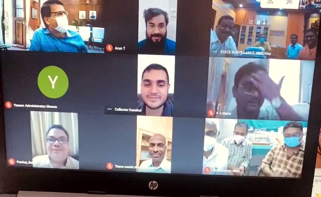 Puducherry all set for COVID vaccination prog starting Jan 16. 2021. A review meet. On the Screen: @AshwaniKumar_92, Chief Sec, OSD Neethi Dhas, Dr Arun, Health Sec, Spl Sec Pankaj Jha, DMS Dr Mohan, Collector Arjun Sharma, Regional Adm, Aman Sharma of Mahe and Shivraj of Yanam.