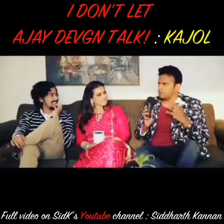 I DON'T LET @ajaydevgn talk!! : @itsKajolD  Catch the full video on my @YouTubeIndia channel:  Don't forget to like, share and subscribe!!  #SidK #SiddharthKannan #Kajol #Tribhanga #kajolfanclubs #kajolfc #Bollywood